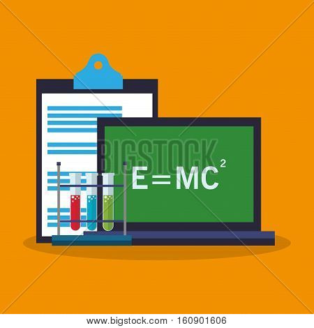 Laptop icon. laboratory science chemistry and research theme. Colorful design. Vector illustration
