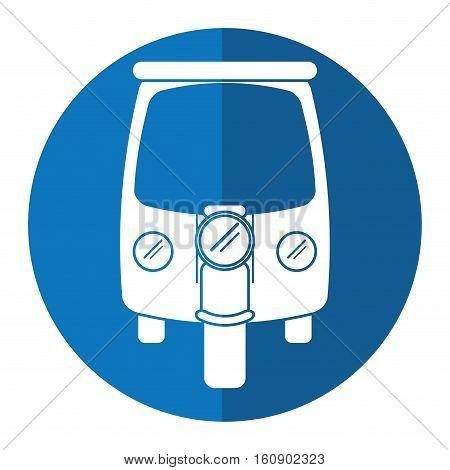 motor rickshaw transport tricycle blue circle vector illustration eps 10