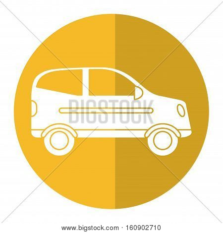 hatchback car vehicle side view yellow circle vector illustration eps 10