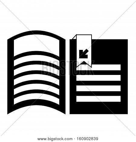 document pages wit download arrow icon over white background. vector illustration