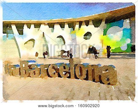 BARCELONA SPAIN - November 18 2016: outdoor entrance of Fira Barcelona on November 18 2016.