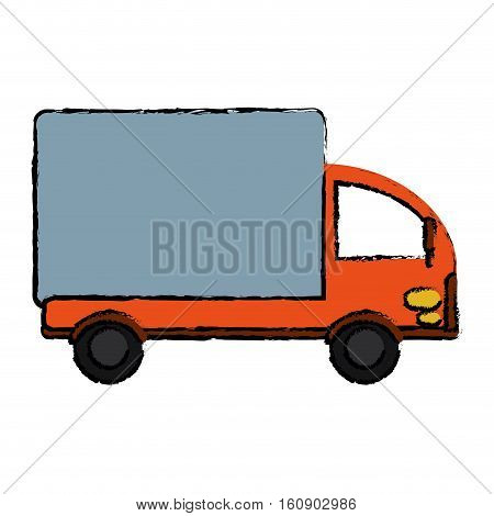 drawing truck mini delivery cargo vector illusration eps 10