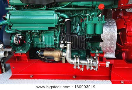 Technical components and assemblies within the a fire truck
