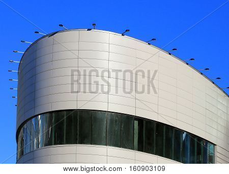 Top of the high-tech building in a futuristic style