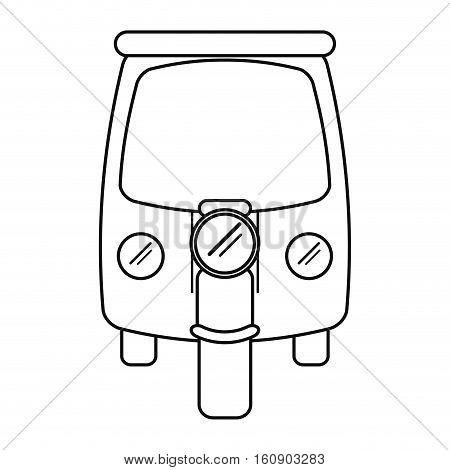 motor rickshaw transport tricycle outline vector illustration eps 10