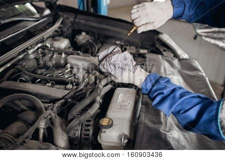 Side view of mechanic checking motor oil in a car with open hood.