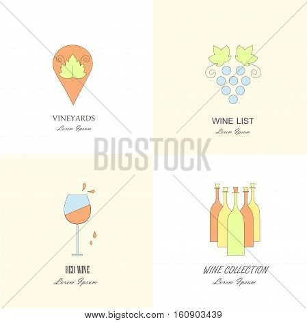Wine labels templates. Different wine and vineyard design elements made in modern line style, stock vector illustration