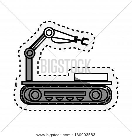 Robot car with hydraulic hand vector illustration design