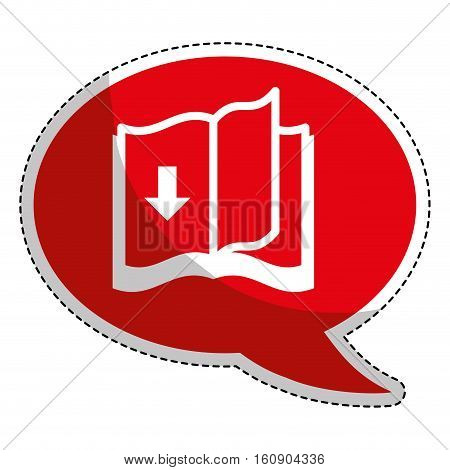 sticker of book with download arrow icon over white background. electronic book concept. vector illustration