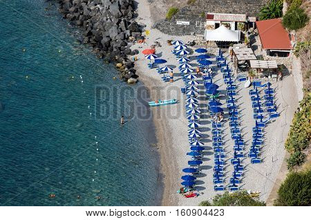 TAORMINA ITALY - AUGUST 19 2016: Taormina is Sicily's most famous upmarket and expensive resort famous for it's high quality beaches.
