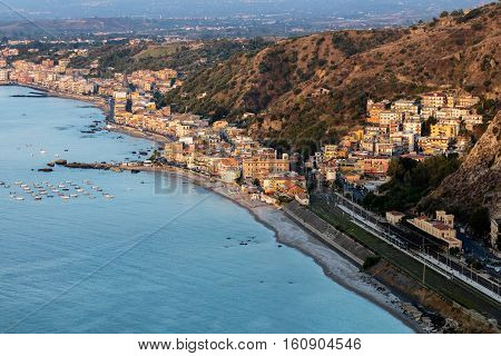 Giardini Naxos in Sicily Italy situated on the coast of the Ionian Sea became a seaside-resort since the 1970s
