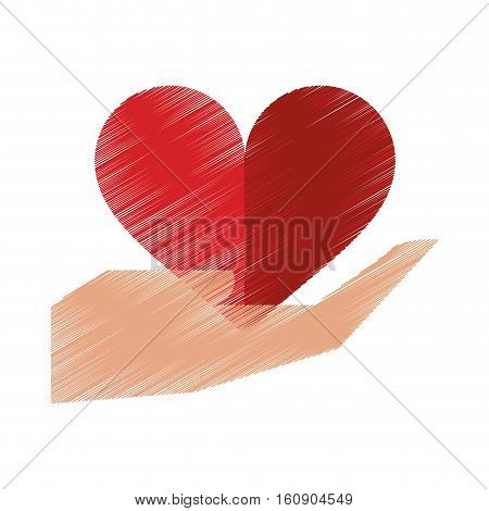 drawing hand holds heart love sing vector illustration eps 10