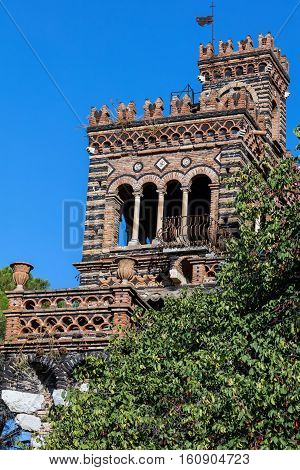 One of folly towers in the Trevelyan Gardens created in the 18th Century by Florence Trevelyan in Taormina Sicily Italy