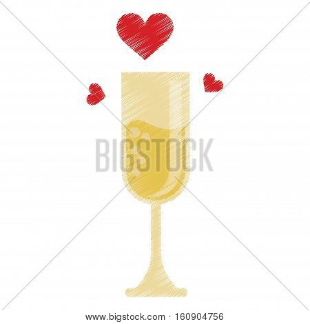 drawing cup glass champagne love celebration vector illustration eps 10