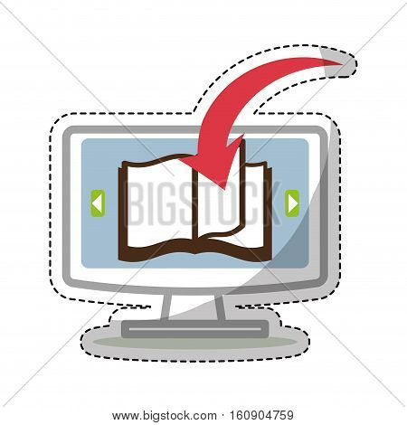 sticker of monitor computer with book with download arrow icon over white background. electronic book concept. colorful design. vector illustration