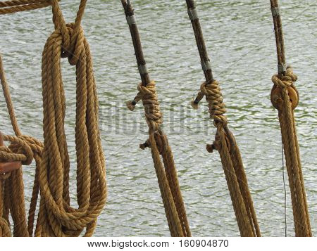 Three taut ropes and one coiled rope on a boat.