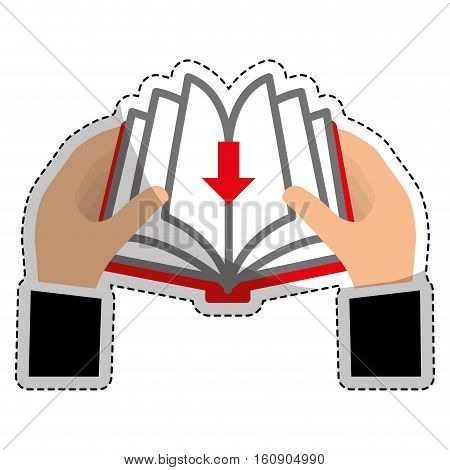 sticker of hands holding a book with download arrow icon over white background. electronic book concept. vector illustration