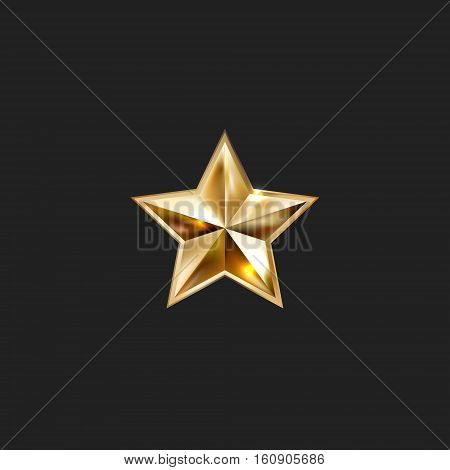 hand drawing gold star with five rays elegant element isolated on black background, vector illustration eps10