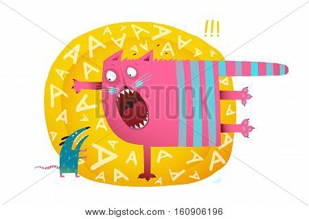 Scared cat meet mouse. Colorful hand drawn cartoon. vector illustration.