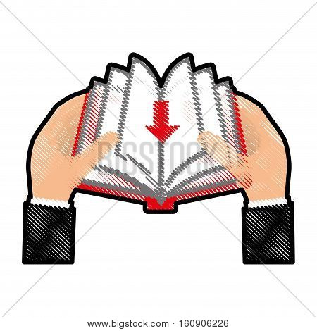hands holding a book with download arrow icon over white background. electronic book concept. colorful and sketch design. vector illustration