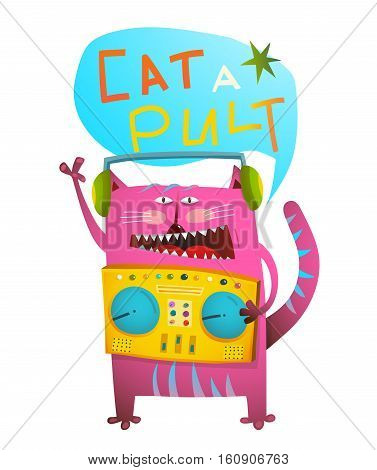 Humor and fun animal with pult and headphones colorful cartoon. Vector illustration.