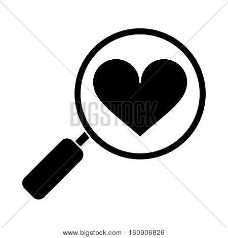 silhouette heart love loupe search icon vector illustration eps 10