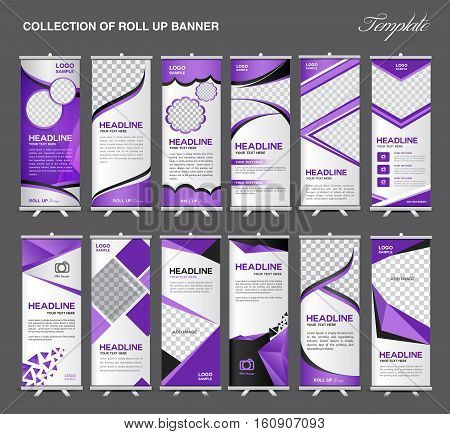 Collection of Roll Up Banner Design stand template, flyer design, advertisement,  x-banner and flag-banner