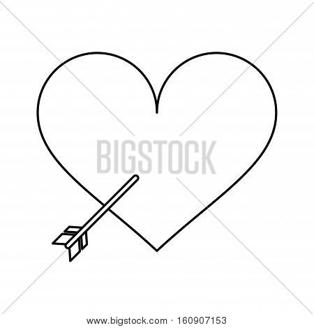 heart with arrow love symbol outline vector illustration eps 10