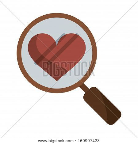 heart love loupe search icon vector illustration eps 10