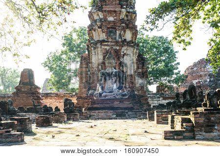 Ayutthay, ancient Buddha statue at Wat MahathatAyuttayaThailand