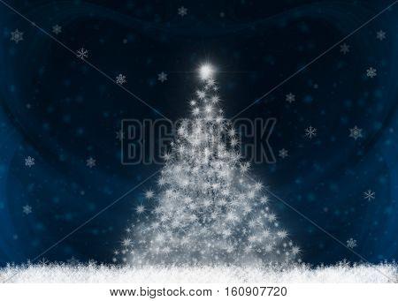 Stylized Christmas tree on dark blue background