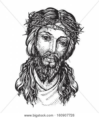 Jesus Christ with thorny wreath. Sketch vector illustration