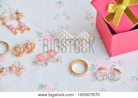 Box of earrings as a present season.