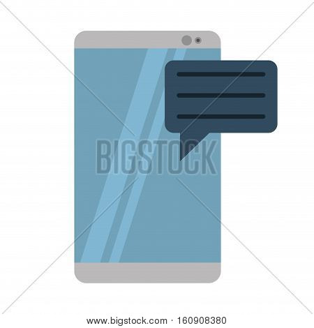gray smartphone with bubble speak media communication vector illustration eps 10