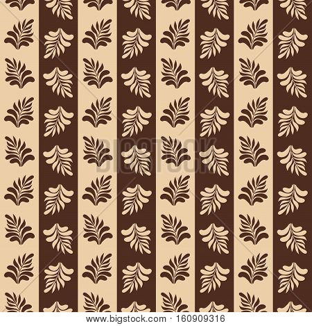 Beautiful seamless pattern with leaves. This ornament may be used for design of tablecloth, cloth, bedlinen, etc.  Vector illustration