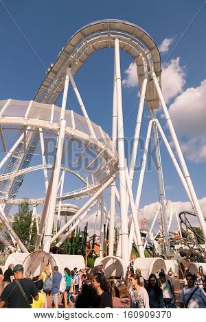 Castelnuovo Del Garda Italy - September 8 2015: Roller coaster at Gardaland Theme Park in Castelnuovo Del Garda Italy. Three million people visit the park on a yearly basis.