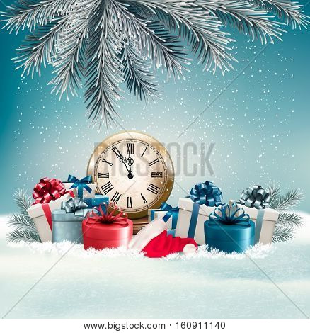 Winter background with presents and clock.