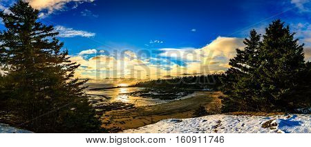 Sunset in Canada, New Brunswick, Rockport landscape, Maringouin Peninsula, Cumberland Basin