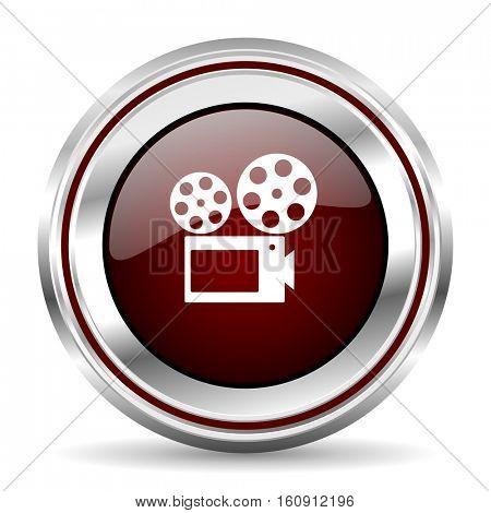 Movie icon chrome border round web button silver metallic pushbutton