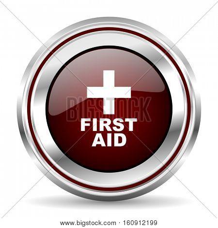 First aid icon chrome border round web button silver metallic pushbutton