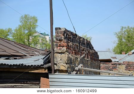 The remains of preserved brick antifire wall in Irkutsk