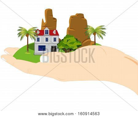 Hand of the person and piece of the planet in palm