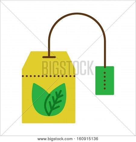 Teabag with herbal tea. Hot drink contour symbol. Vector flat icon. Color llustration isolated on white background.