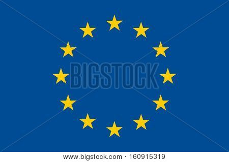 Waving flag of European union. Illustration of EU flag with yellow stars on blue color. Vector flat icon isolated on white background.