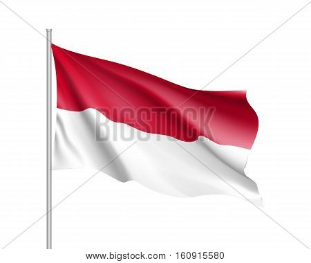 Waving flag of Monaco state. Illustration of European country flag on flagpole with red and white colors. Vector 3d icon isolated on white background