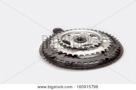 Bicycle black crankset on a white background