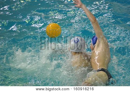 Orenburg, Russia - 6 May 2015: The Boys Play In Water Polo.