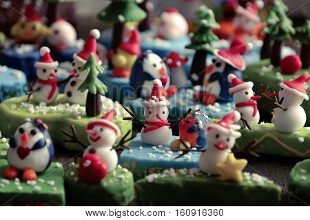 Merry Christmas Background With Xmas Ornament From Clay