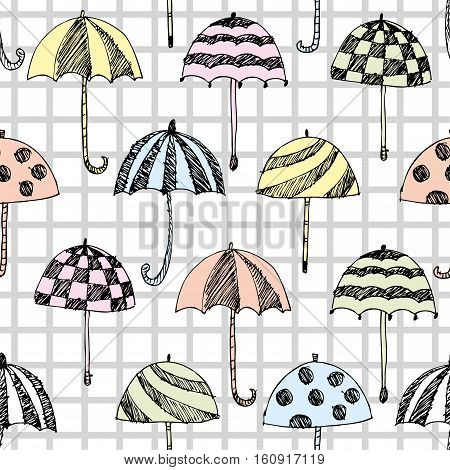 umbrella sketch pattern, checked seamless cell background