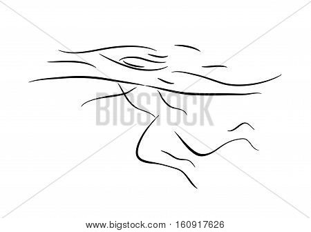 Part of swimmer's body under the water in the pool. Illustration. Eps 8